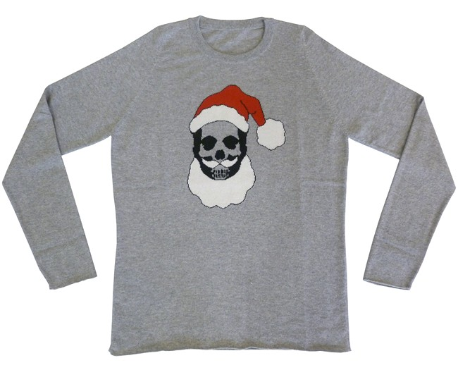 pere noel homme special Christmas cashmere sweater with Santa Klaus skull