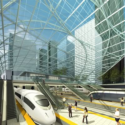 High speed rail vision for a downtown Chicago train station.  Illustration provided by Solomon Cordwell Buenz