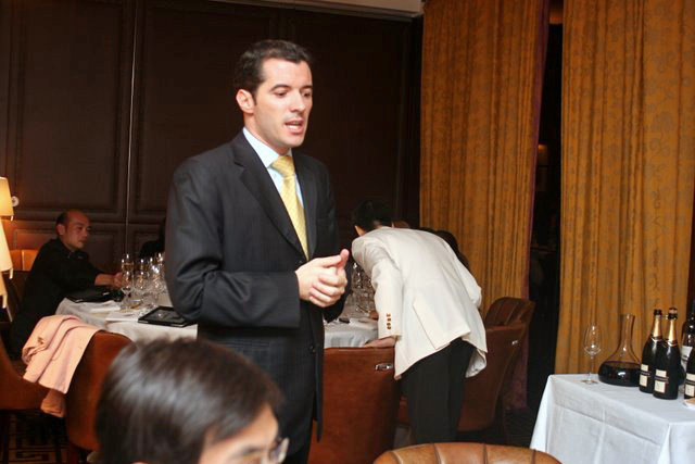 Arnaud Mirey from Moët Hennessy explaining the wines in detail
