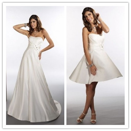 satin strapless empire 2 in 1 wedding dress