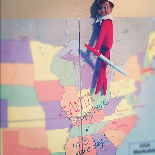 Buddy I'd teaching geography today. #elfontheshelf