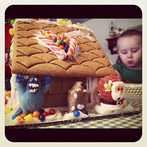 The chicks gingerbread house made w a talented partner and favorite cousin.