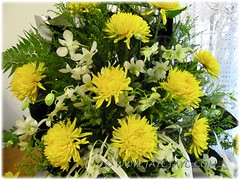 Funeral bouquet consists of yellow chrysanthemums, white orchids and greens