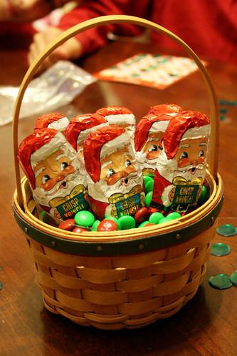 Chocolate Santas for prizes.