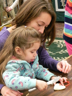 Making ornaments to feed the birds