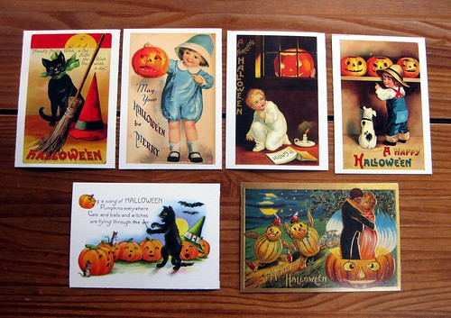 Vintage-reproduction Halloween postcards