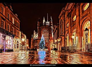 Bath Abbey on a Wet Night
