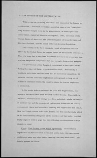 Message of President John F. Kennedy transmitting a treaty signed at Moscow on August 5, 1963, 08/08/1963