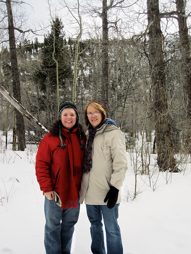Jane and Mom, Hiking in Rocky Mountain National Park, Colorado - February 2011