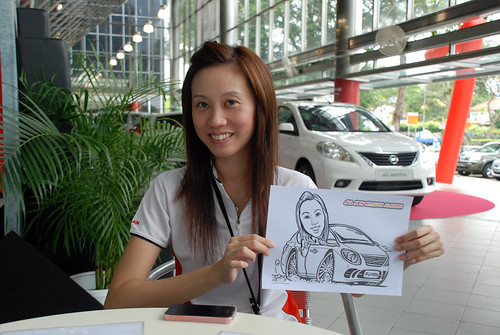 Caricature live sketching for Tan Chong Nissan Almera Soft Launch - Day 2 - 5
