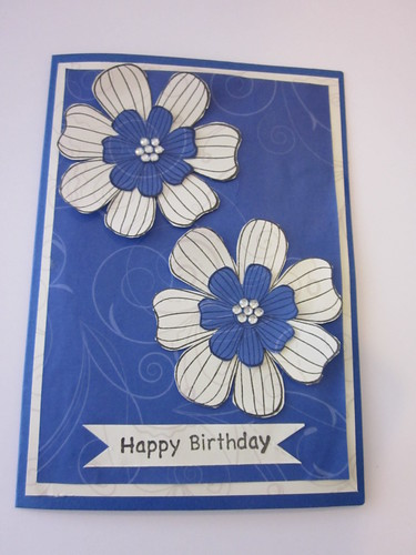 Flower card using patterned papers