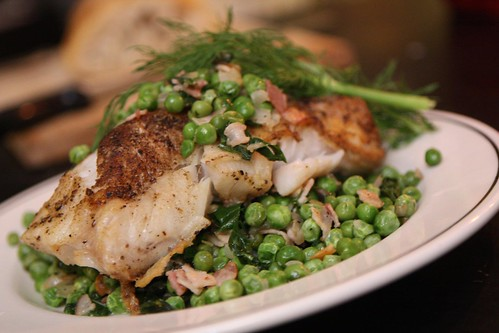 Pan Roasted Hake with Pancetta and Peas