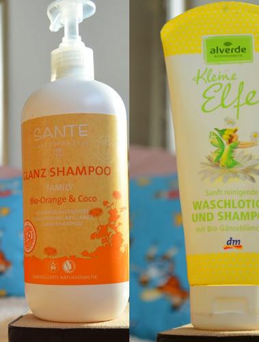 Sante Glanz Shampoo Bio Orange und Coco und Baby Waschlotion und Shampoo von Alverde