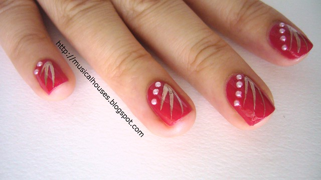 chinese new year nail art red gold 3