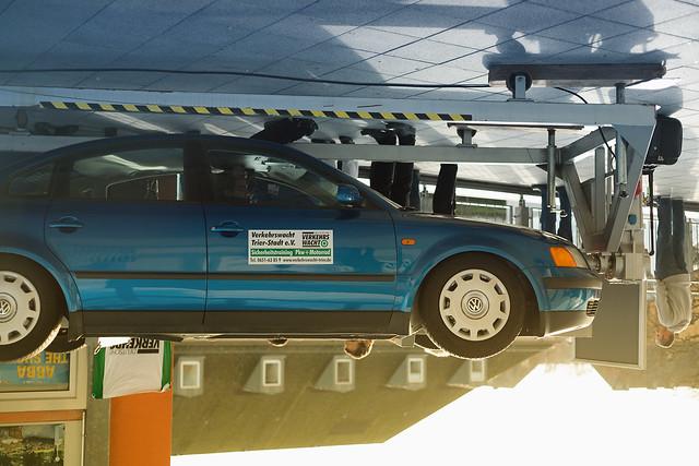 VW Passat upside down car
