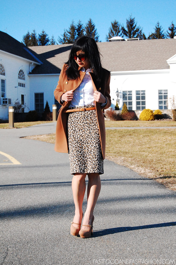 5f72ee70b j crew no 2 pencil skirt leopard print townhouse trench heather caramel ann  taylor white button ...