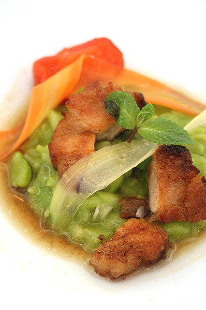 Grean Pea Risotto: Sauteed Kagoshima Kurobuta Confit, Green Pea and Bacon, Natural Meat Jus