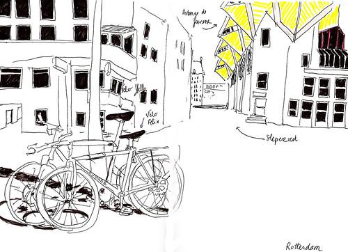 Vélos, ombre et ruelle