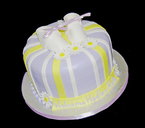 lavendar and yellow baby shower cake