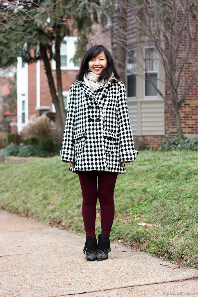 bundled up checkered coat