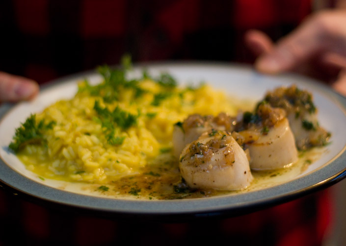 Saffron Risotto and Sea Scallops.