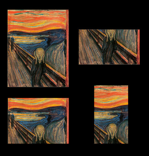 Various crops of The Scream