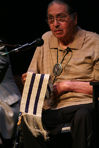 Chief Irving Powless with Two Row Wampum Belt