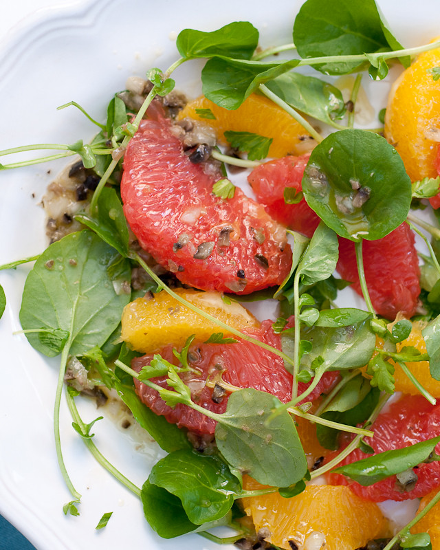 Watercress Citrus Salad with Olive-Caper Vinaigrette | Cafe Johnsonia