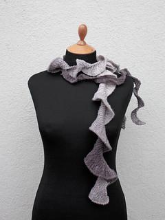 Cute Curly Gray Handmade Scarf