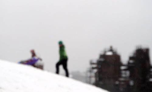 Abstract: climbing the big hill, snowy, cloudy day, Gas Works Park, Seattle, Washington, USA by Wonderlane