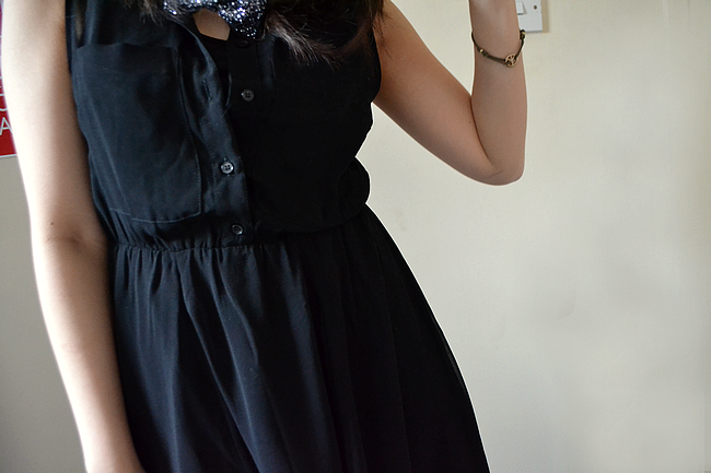 daisybutter - UK Style Blog: what i wore, sheer dress, black chiffon, h&m, little mix, glitter bow, perri edwards