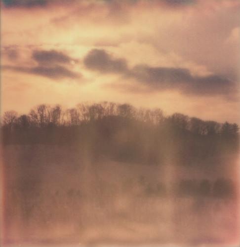 sunset film clouds analog sx70 analogue indianadunesnationallakeshore polaroidsx70 instantfilm theimpossibleproject portagelakefrontandriverwalk px70colorshade