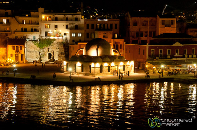 Venetian Harbor at Night - Chania, Crete