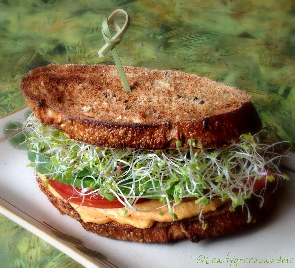 Roasted red bell pepper hummus sandwich leafy greens and me for Roasted red bell pepper hummus