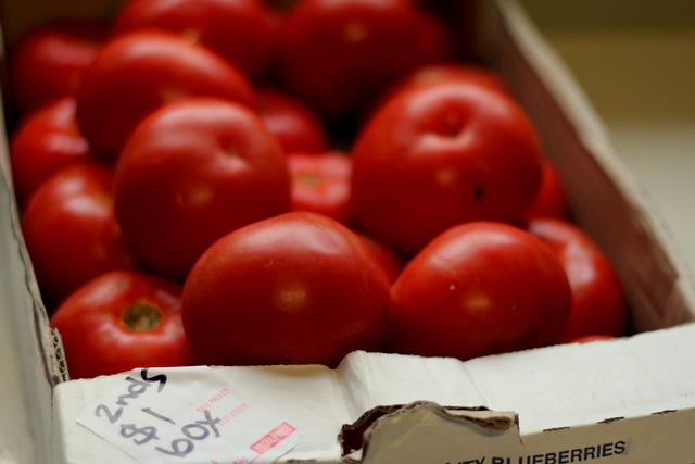 Bargain! $1 box of tomatoes.