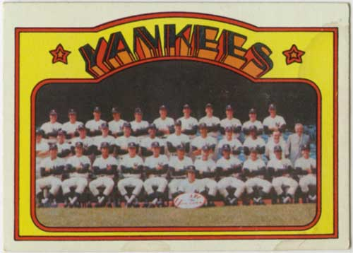 1972 Topps New York Yankees Team Card