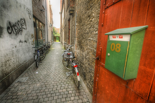 Street and bicycles. Brugges. Calle y bicicletas. Brujas