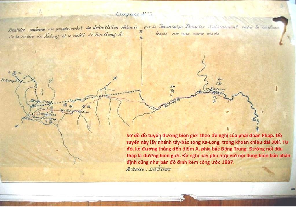 sơ đồ đồ tuyến đường biên giới theo đề nghị của phái đoàn Pháp