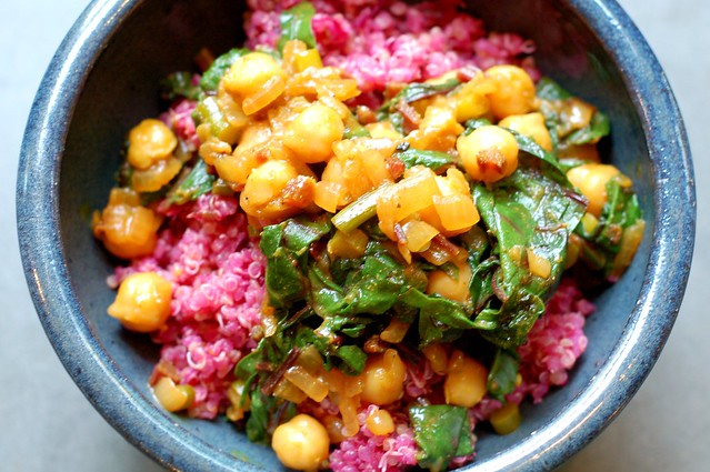 Cumin-scented quinoa with beets topped with curried chickpeas and beet greens by Eve Fox, Garden of Eating blog, copyright 2011