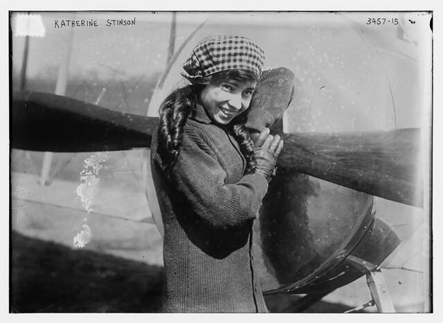 Katherine Stinson and her aeroplane  (LOC)
