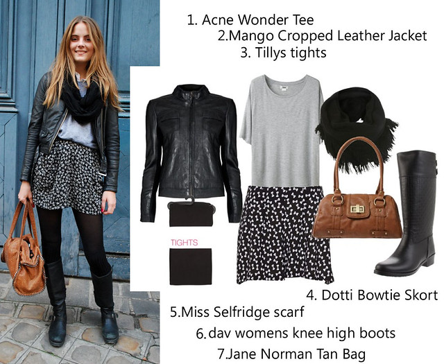 winter fashion 2012 boots leather jacket tights