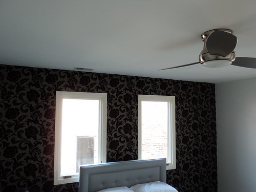 master bedroom wallpaper and ceiling fan