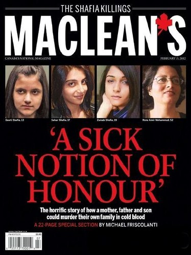 "Maclean's Magazine Cover on February 13, 2012 showing the main story title ""A Sick Notion of Honour"" in red letters on a black background"