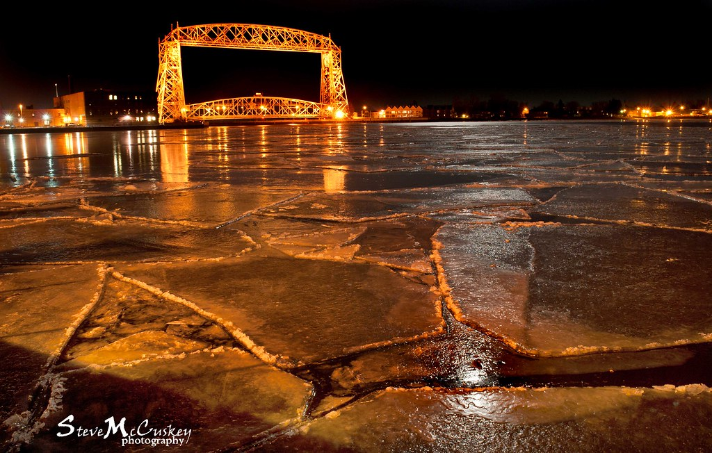 Fire and Ice - Lift Bridge at Night - Duluth, MN