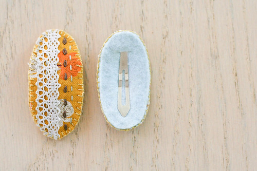 embroidered hair clips | yourwishcake.com
