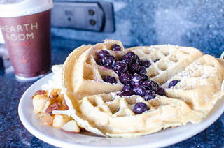 A hand-made Marriott blueberry waffle