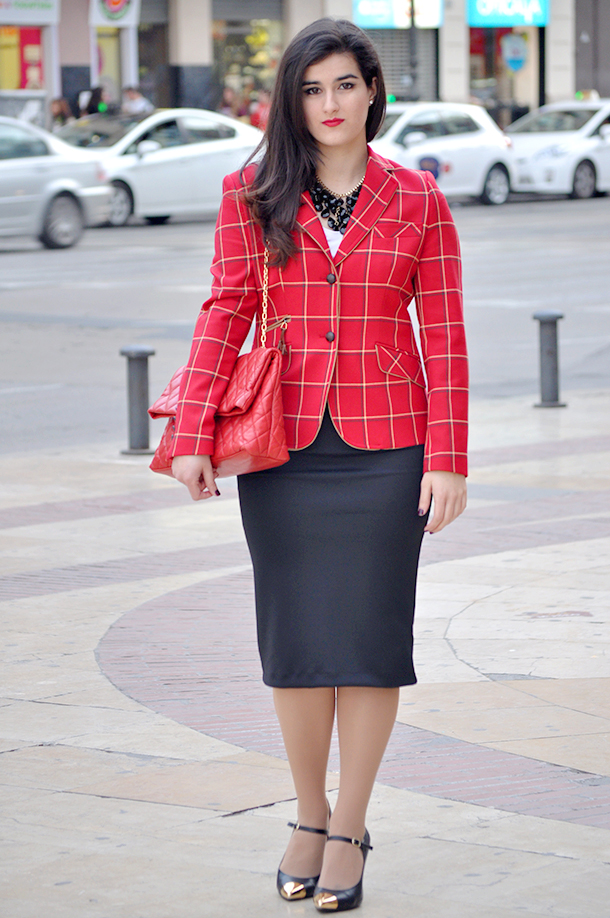 something fashion blog spain valencia fashionblogger, buttercup talavera de la reina, jackets tartan check pattern blazer fashion, cape cool tartan fashion blog pencil skirt school outfits