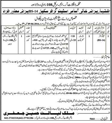 Foresty Department Stenographer Required Lahore