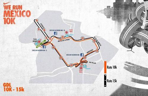Ruta Nike We Run Guadalajara 10K y 15K