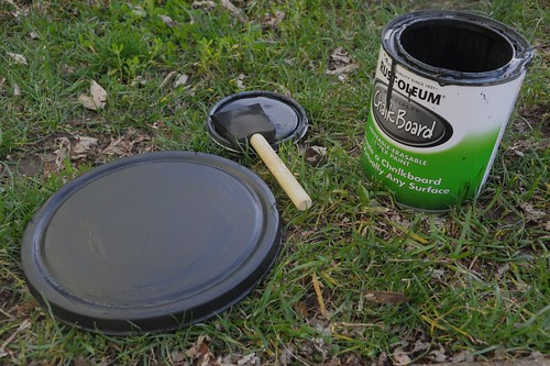 lid of tin covered with chalkboard paint